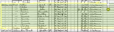 1920 Census Pettus Fort Family